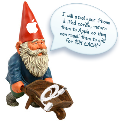 An Apple Gnome who steals iphone cords while you sleep