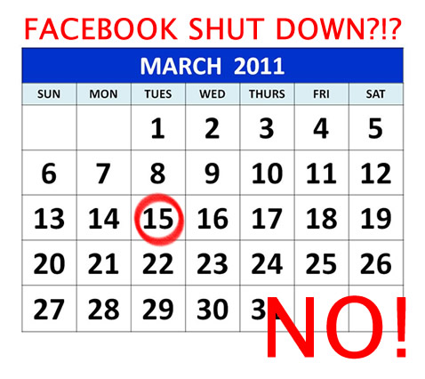 FACEBOOK march 15 shutdown