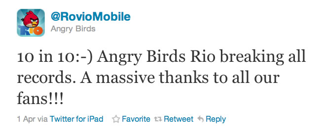 angry birds rio 10 million downloads
