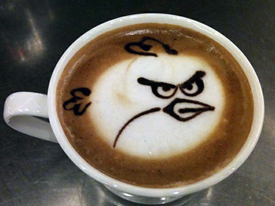 angry birds in my coffee