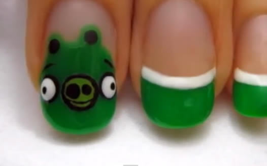 evil green pigs nail art