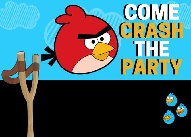 Angry Bird Crash The Party Invitation Free