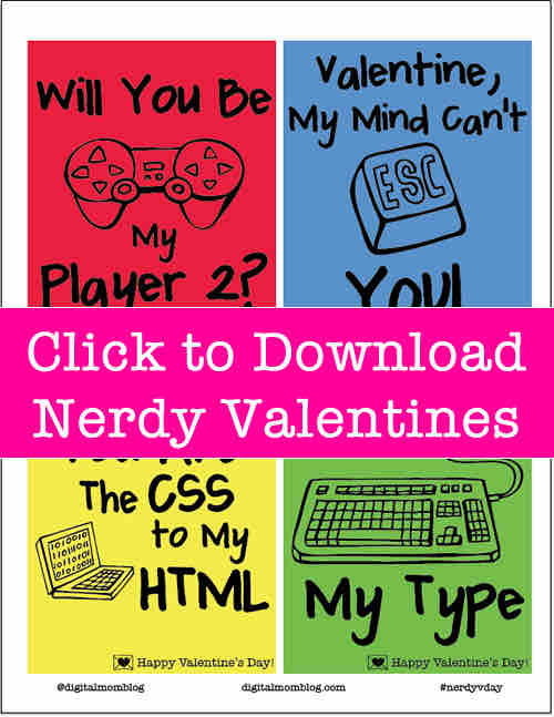 download nerdy valentines day cards