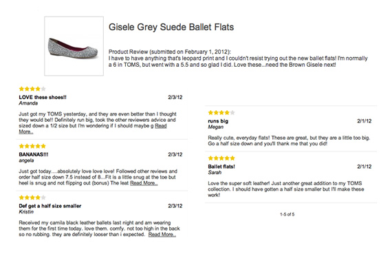 toms ballet flat review half size