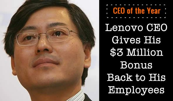 Lenovo CEO Gives Bonus to Employees