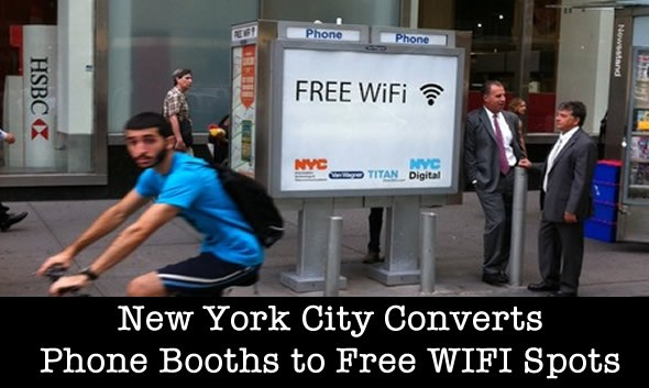 Phone Booths Converted to Free WIFI Hot Spots in NYC