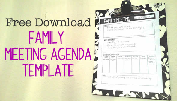 family meeting agenda download