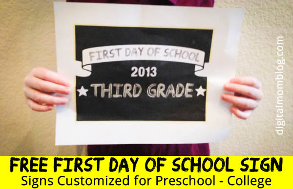 First Day of School Printable Sign – Customized Signs from Preschool ...
