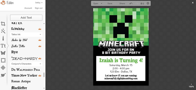 Minecraft Birthday Invites gangcraftnet