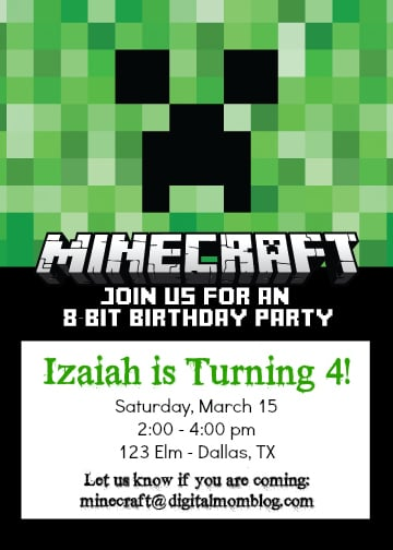 minecraft invitations - party invite 8 bit birthday party
